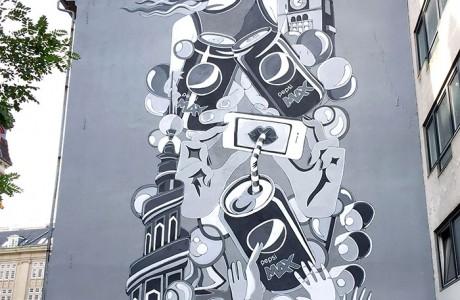 Stine Hvid Pepsi Max mural in Copenhagen