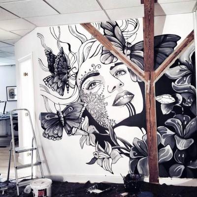 Stine Hvid lady mural vægmaleri