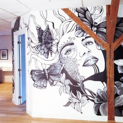 Stine Hvid single.dk mural vægmaleri