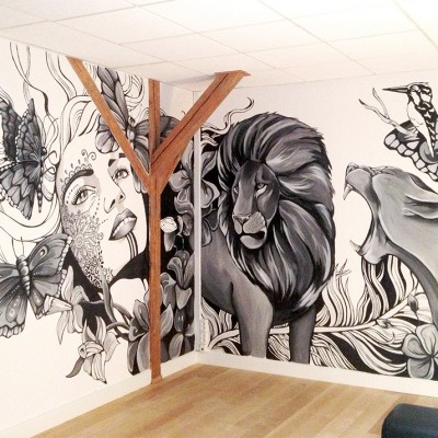 Stine Hvid kontor vægmaleri
