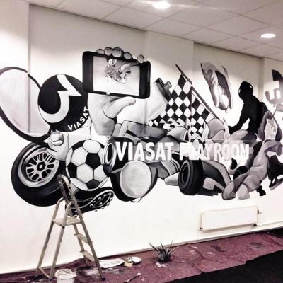Stine Hvid Viasat mural vægmaleri proces