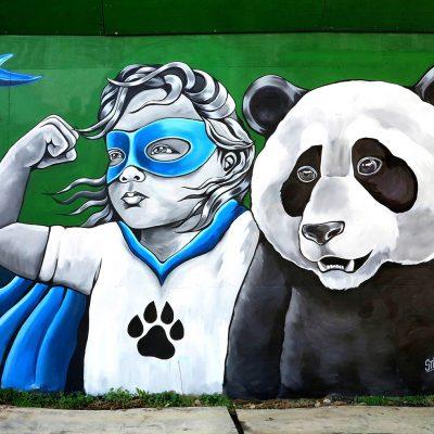 Stine Hvid Panda Super Kid mural