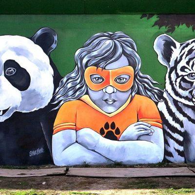 Stine Hvid Streetart Super girl mural