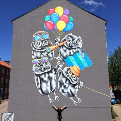 Globetrotters Stine Hvid mural street art Helsingborg