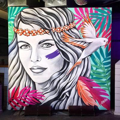 Stine Hvid mural Organic Boho vægmaleri