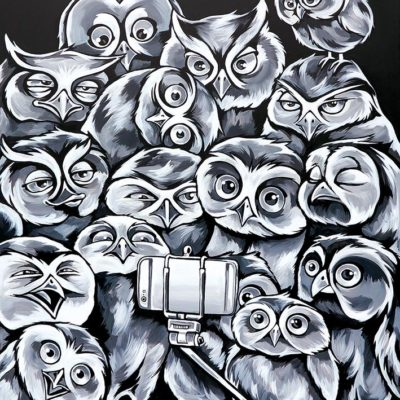 Stine Hvid Owl Selfie painting