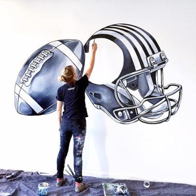 stine hvid mural nfl helmet