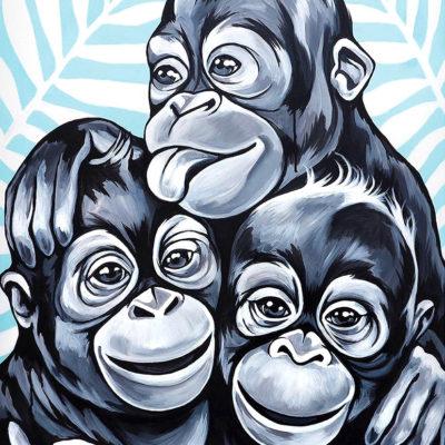stine hvid painting monkey buddies maleri
