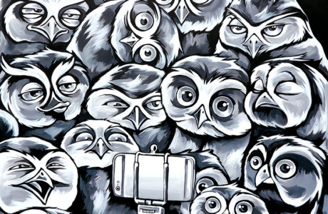 stine hvid owl selfie painting maleri
