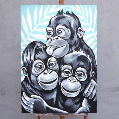 stine hvid monkey buddies painting maleri