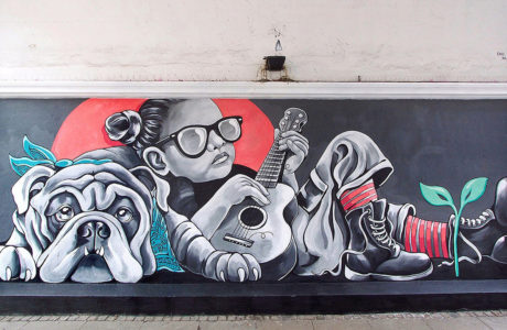 Stine Hvid street art mural west end